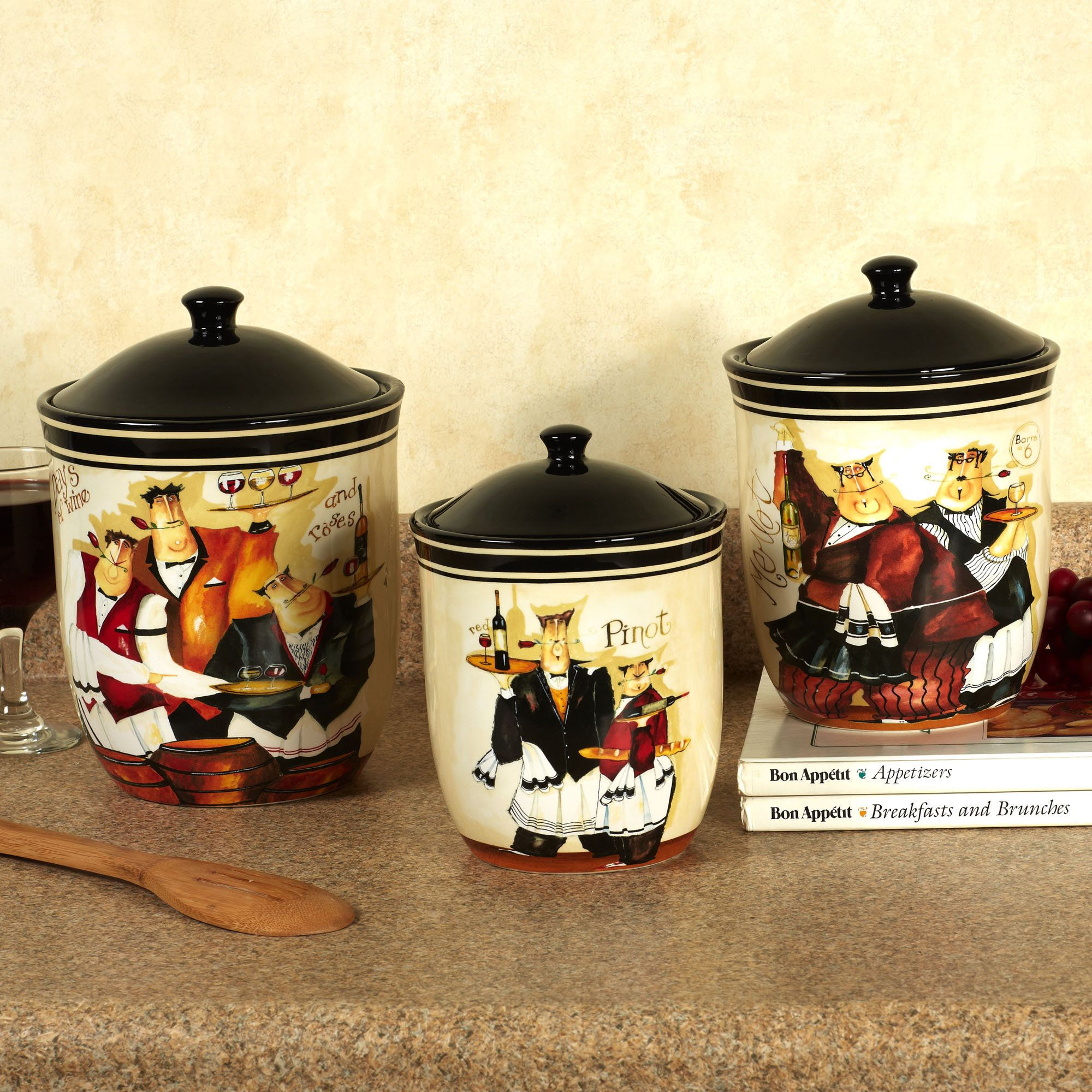 days of wine waiters kitchen canister set canisters pinterest