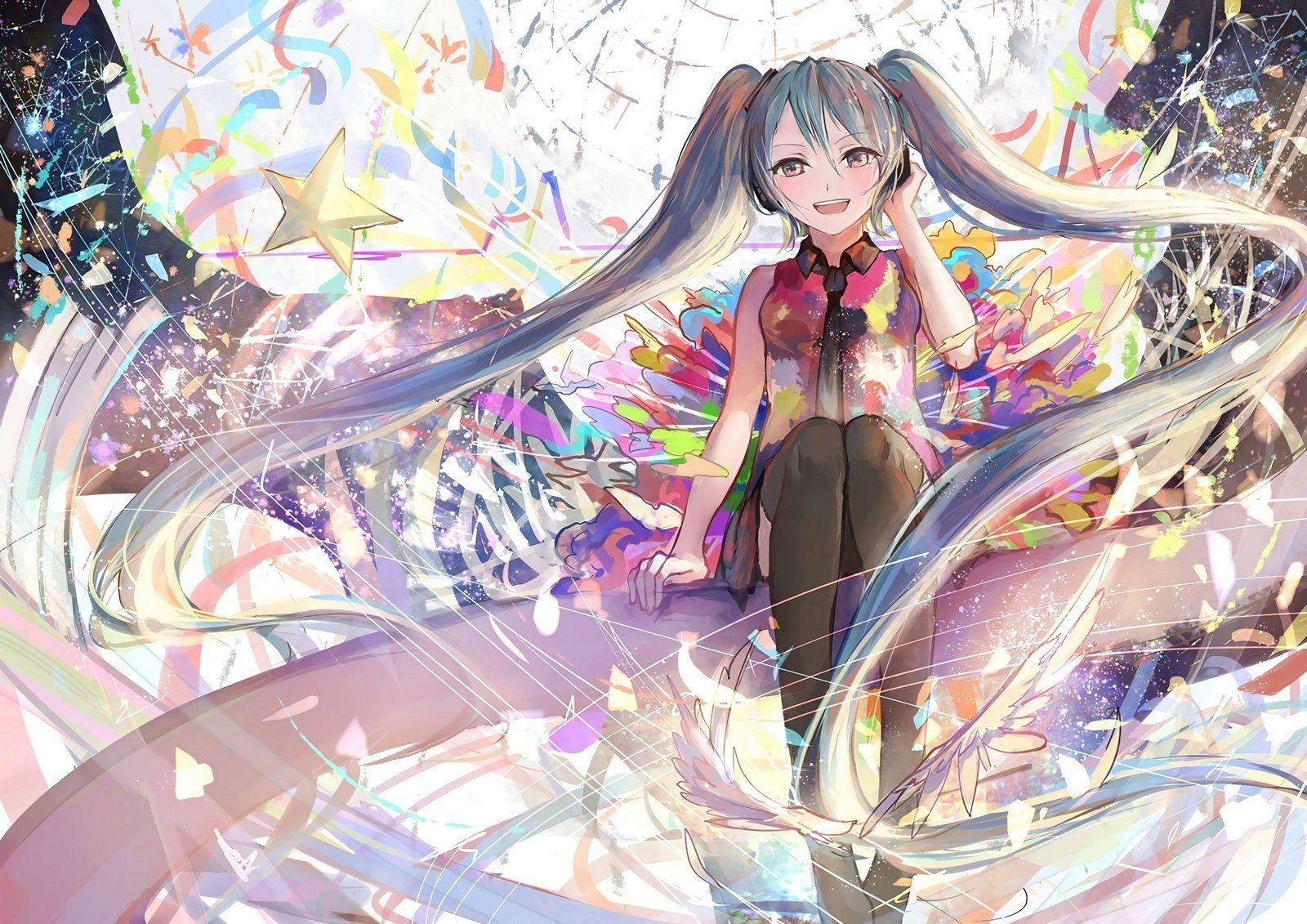 Anime Vocaloid Hatsune Miku Girl Long Hair Twintails Aqua