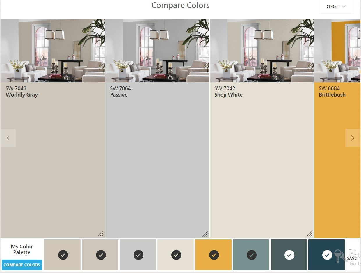 sherwin williams colorsnap compare colors: worldly gray, passive
