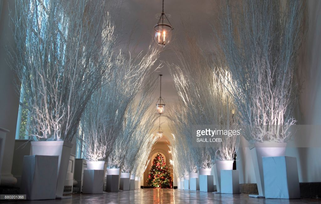 christmas decorations are seen in the east wing during a preview of holiday decorations at the white house in washington dc november 27 2017 - The White House Christmas Decorations 2017