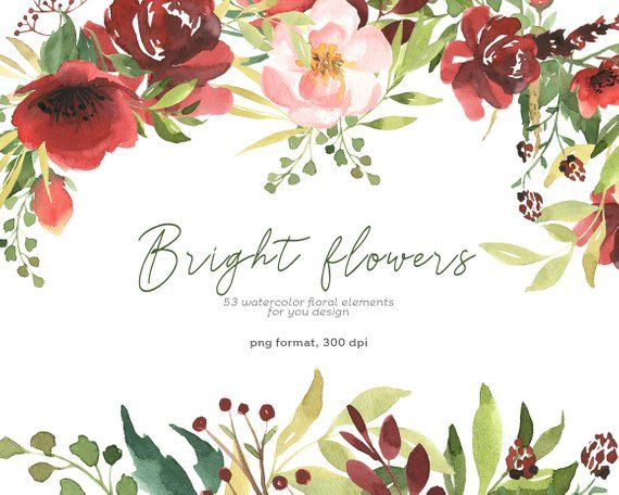 Flower wedding. Watercolor clipart individual elements