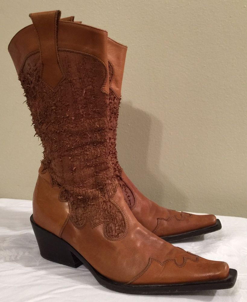 Nero Giardini Brown Leather Distressed Cowboy Boots Size 37.5 or 6 ...