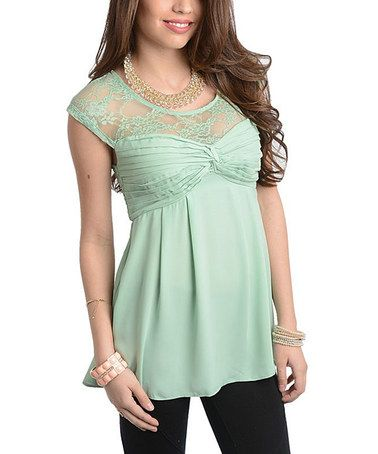 Look what I found on #zulily! Mint Sheer-Lace Top #zulilyfinds