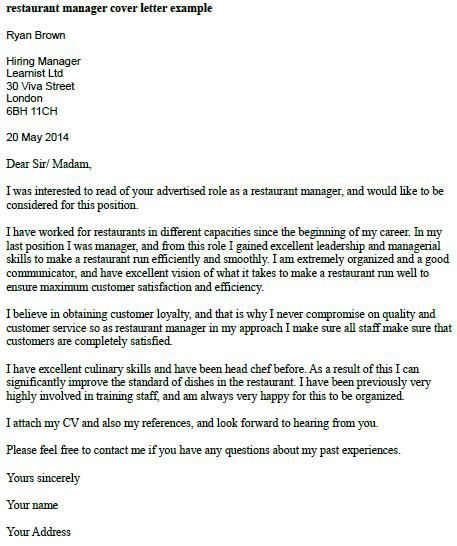 Restaurant Manager Cover Letter Example