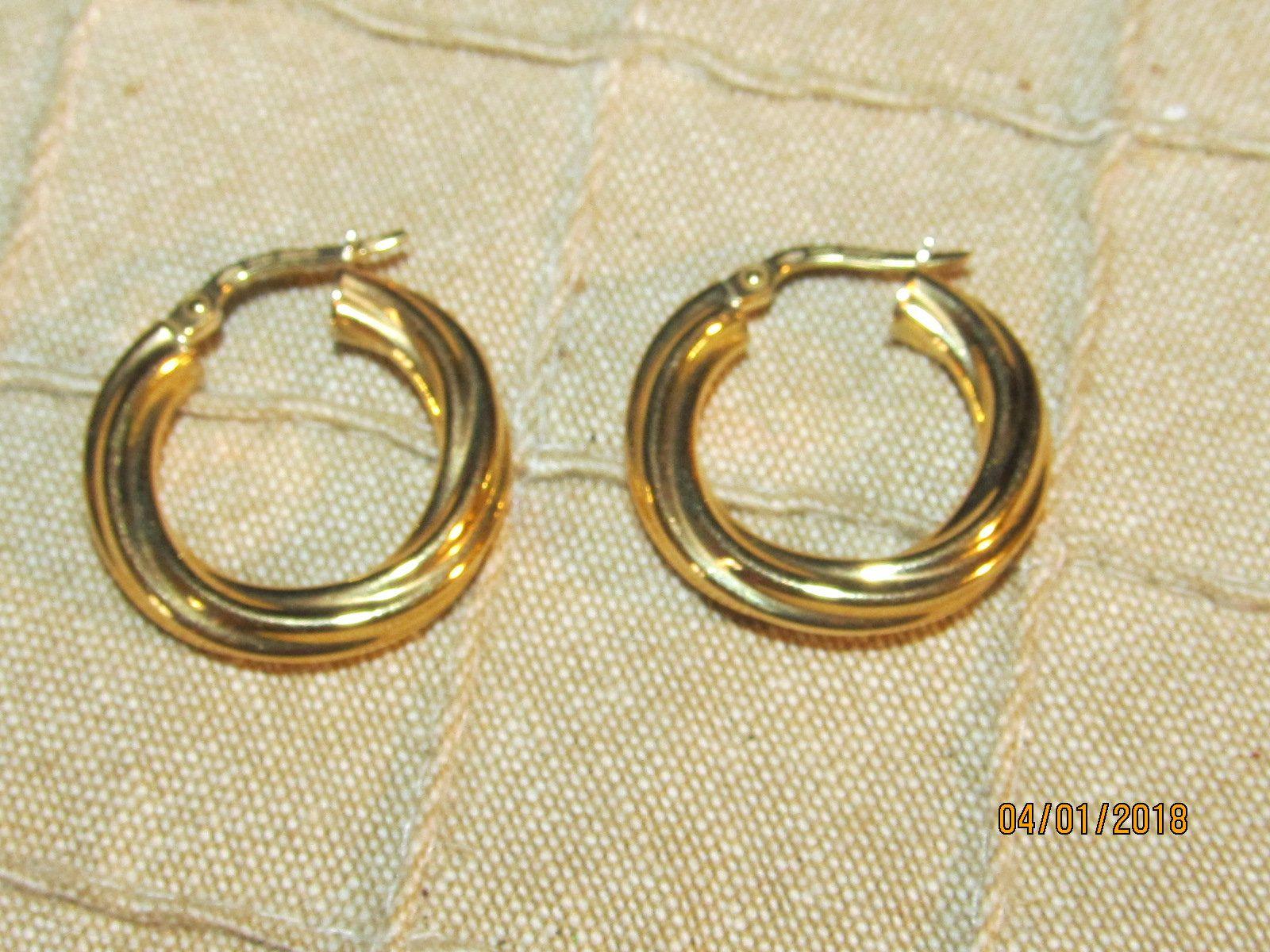 gold plated earrings Jewelry 18K gold plated hoop earrings 750