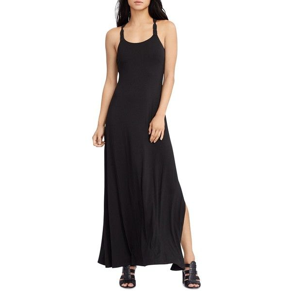 Lauren Ralph Lauren Macrame Strap Maxi Dress ($53) ❤ liked on Polyvore  featuring dresses