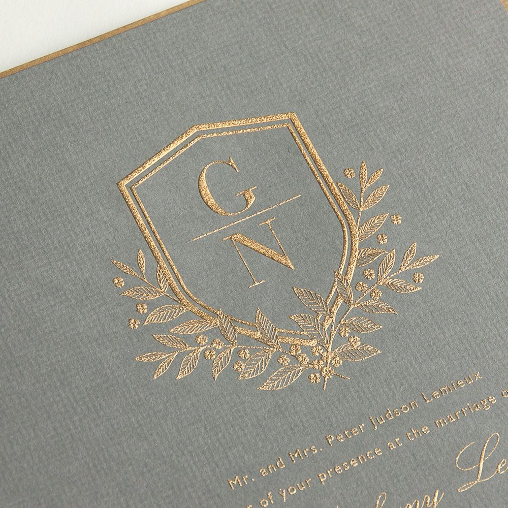 sample of wedding invitation letter%0A Vera Wang Engraved Gold Bordered Light Grey Wedding Invitation