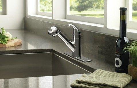 Moen Integra Chrome one-handle low arc pullout kitchen faucet ...