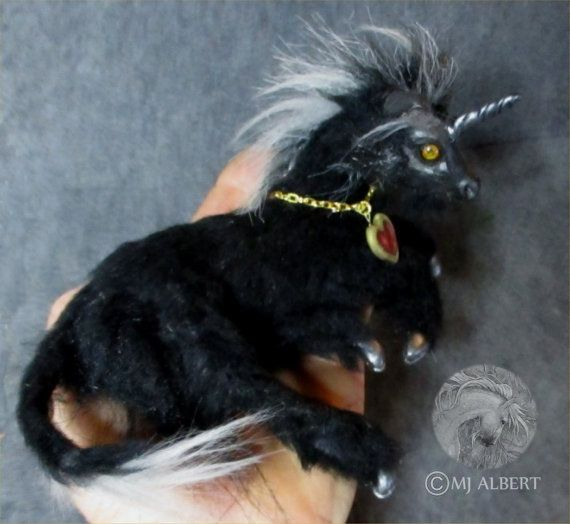 OOAK Pose-able Black Unicorn Sculpture Art Doll by MJAlbertSculpts