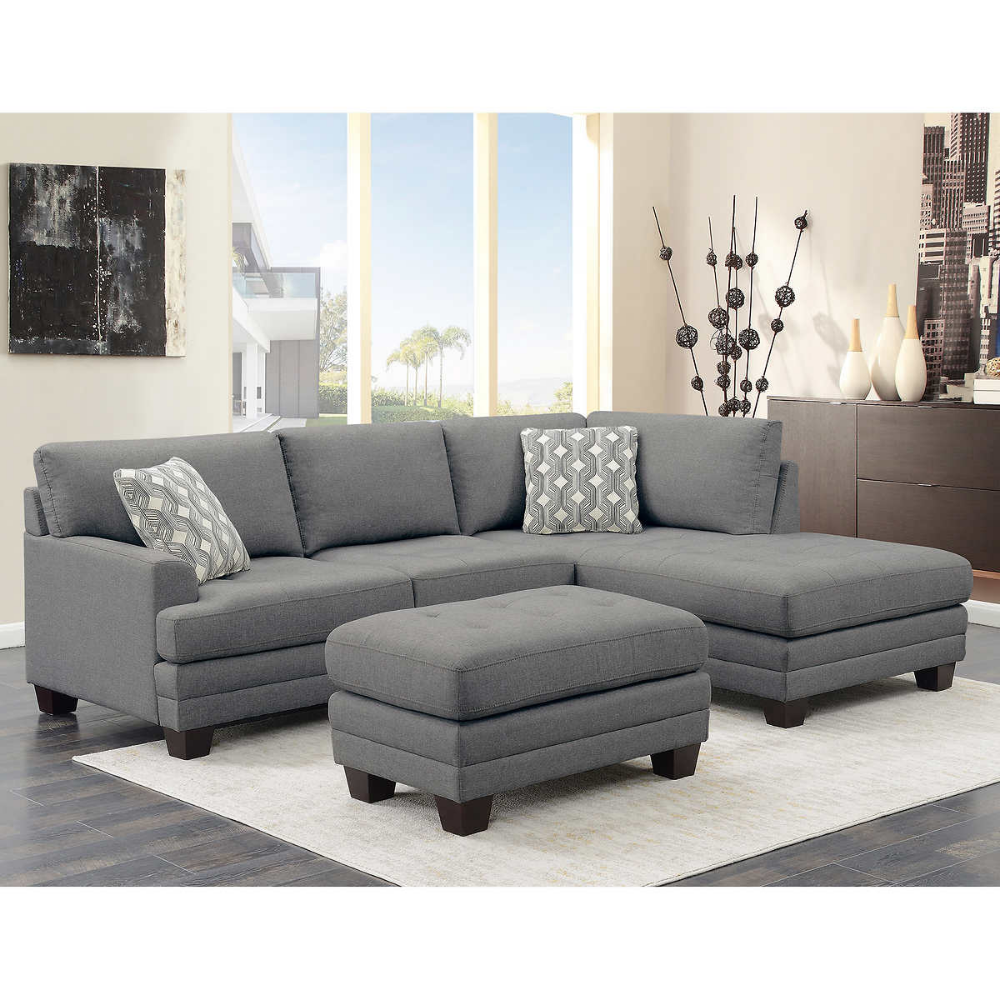 Mitch Fabric Sectional with Ottoman Sectional sofa, Grey