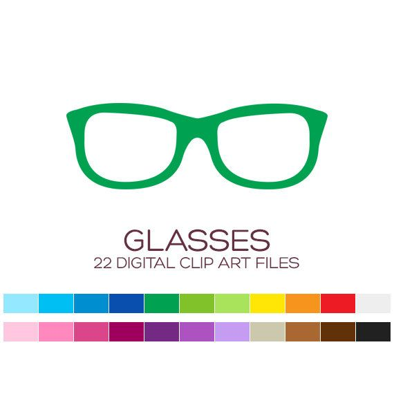 Digital Glasses Clipart for Personal & Commercial by coloryourway