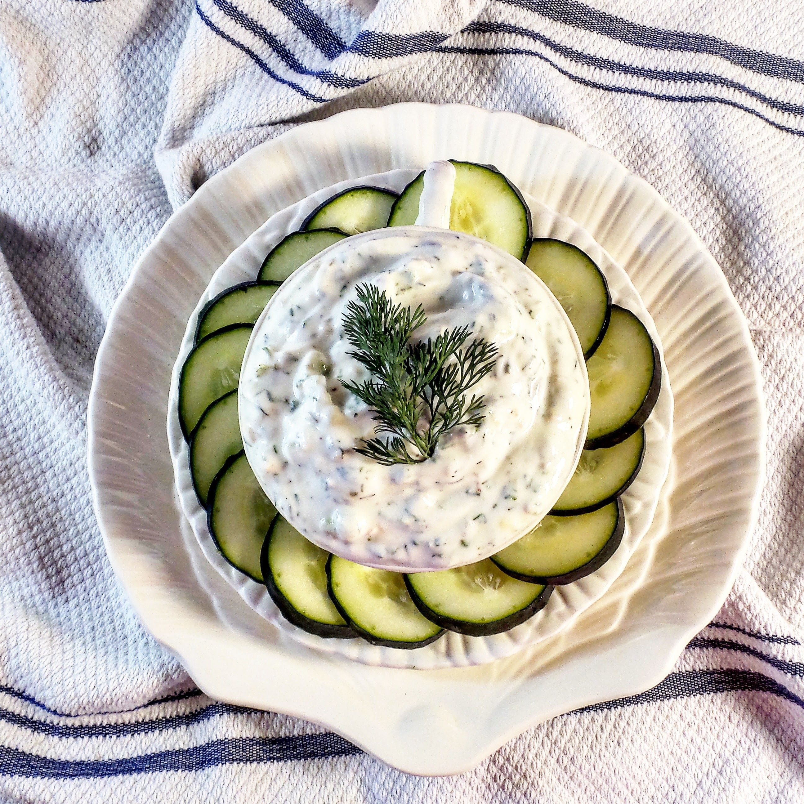 Creamy, tangy, and bold tzatziki sauce is the perfect healthy dip and sauce for veggies, chips, pitas, chicken, and lamb.