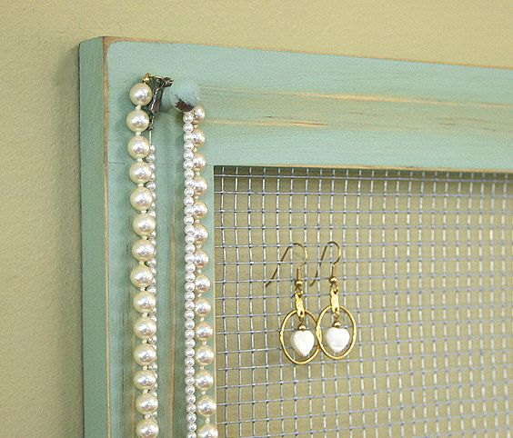 Jewelry Holder Organizer Frame Wall Hanging Vintage Pale Jade Framed