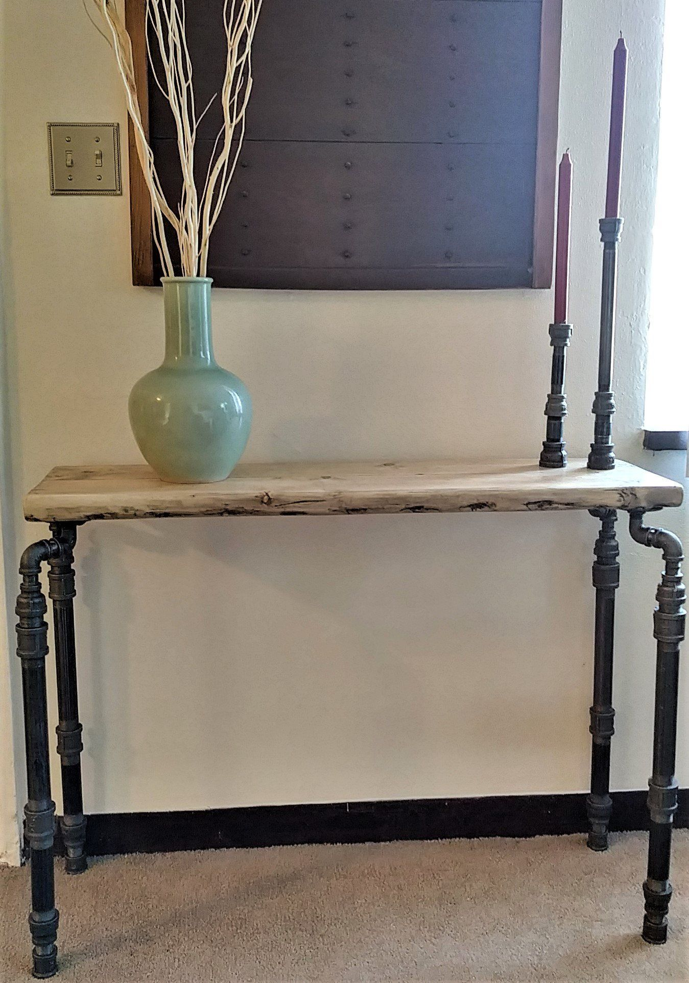 industrial console table steampunk narrow hall table iron pipe rh pinterest com
