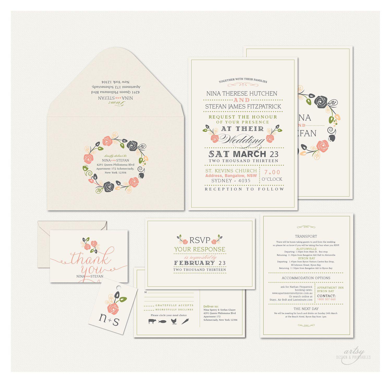 VINTAGE RUSTIC WEDDING Invitations Monogram Floral Wreath Printable Desig