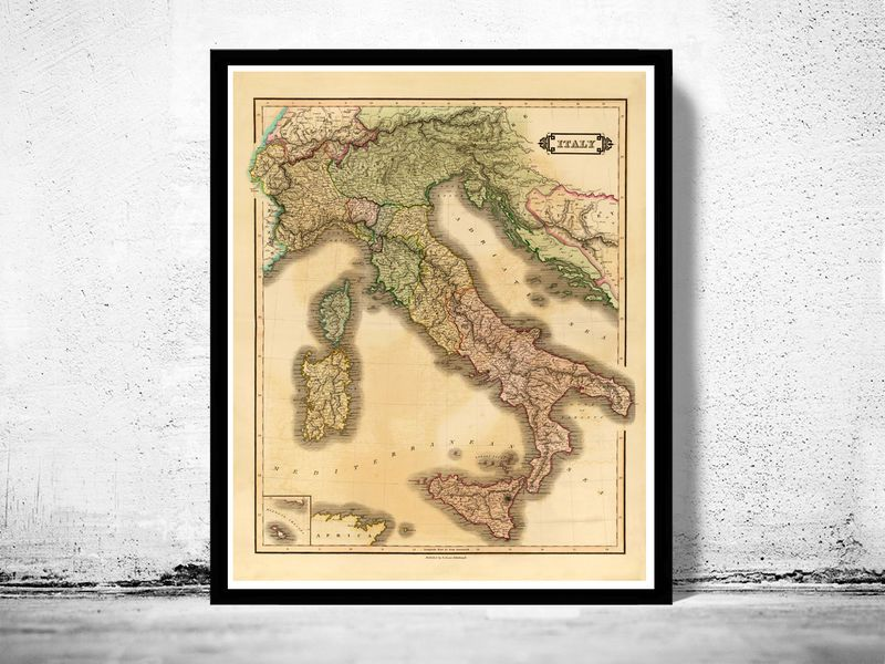 North America Map In 1750%0A Old Map of Italy      italia  product image
