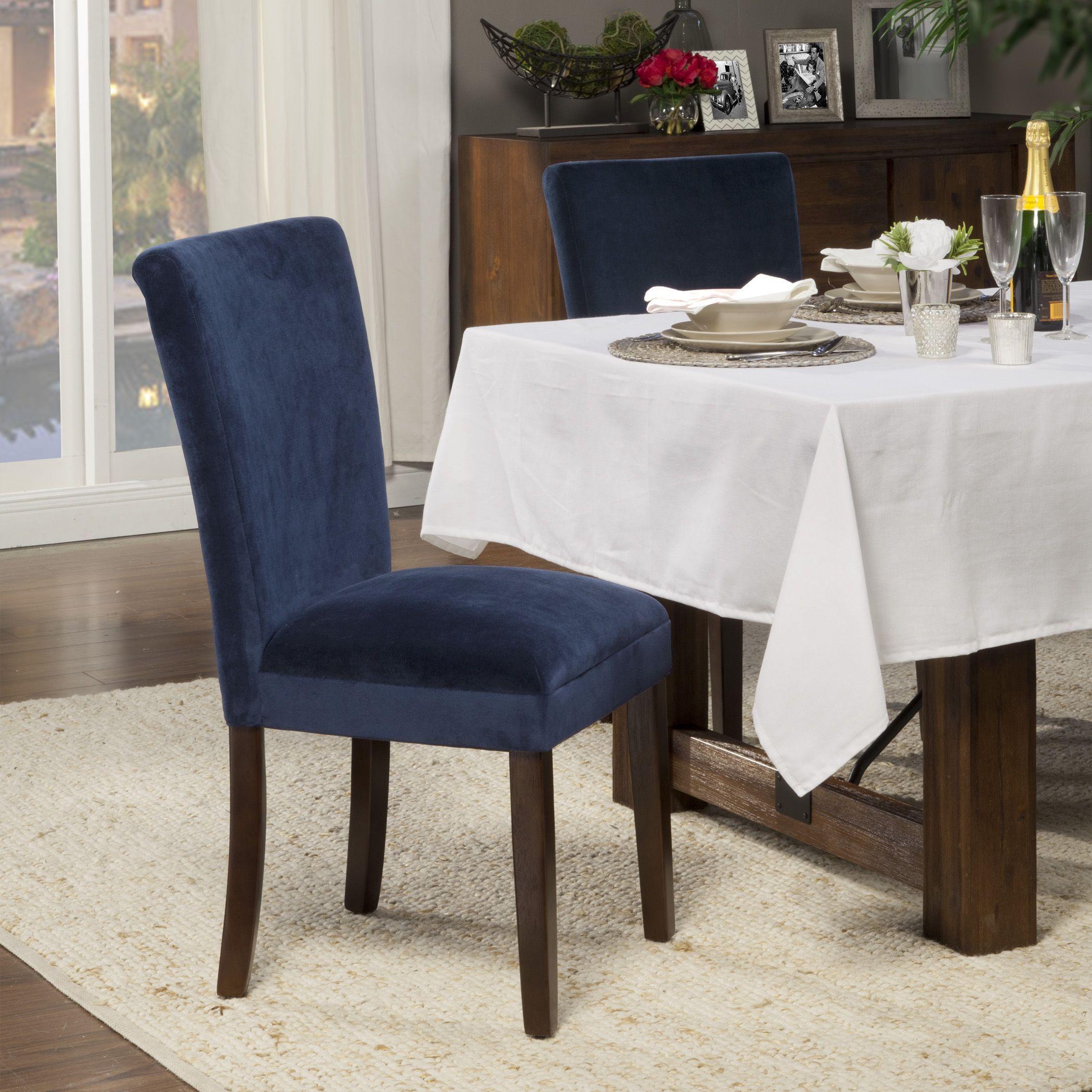 HomePop Ink Navy Plush Velvet Parson Chairs (Set of 2) (Ink navy ...