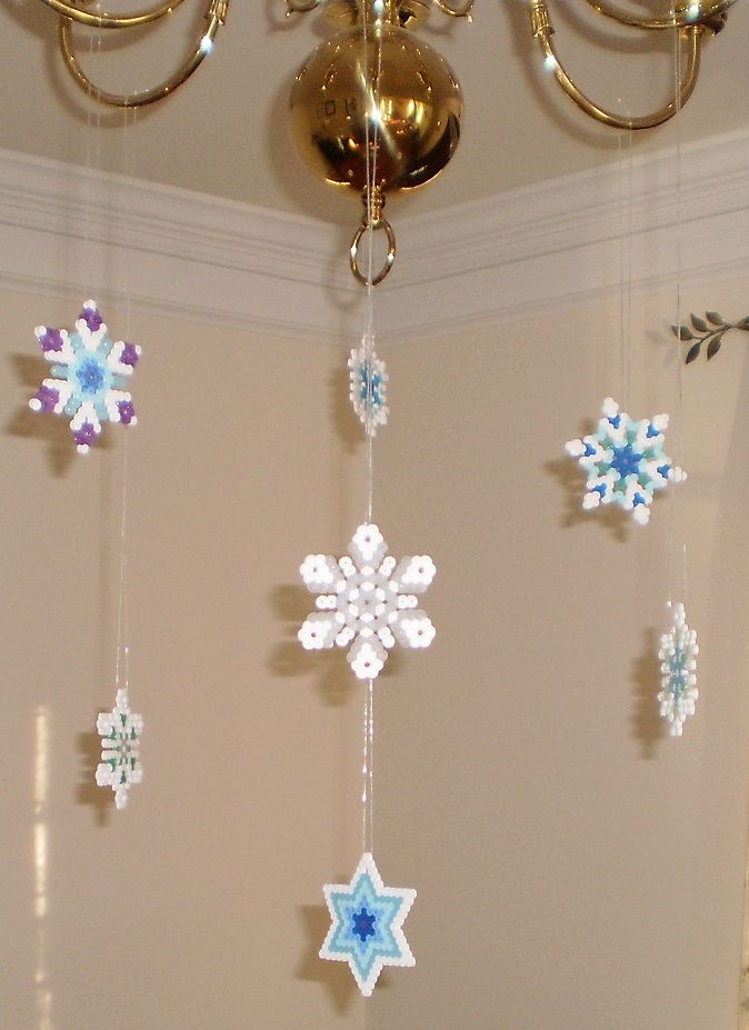 Perler bead snowflakes chandelier decoration Perler bead snowflakes chandelier