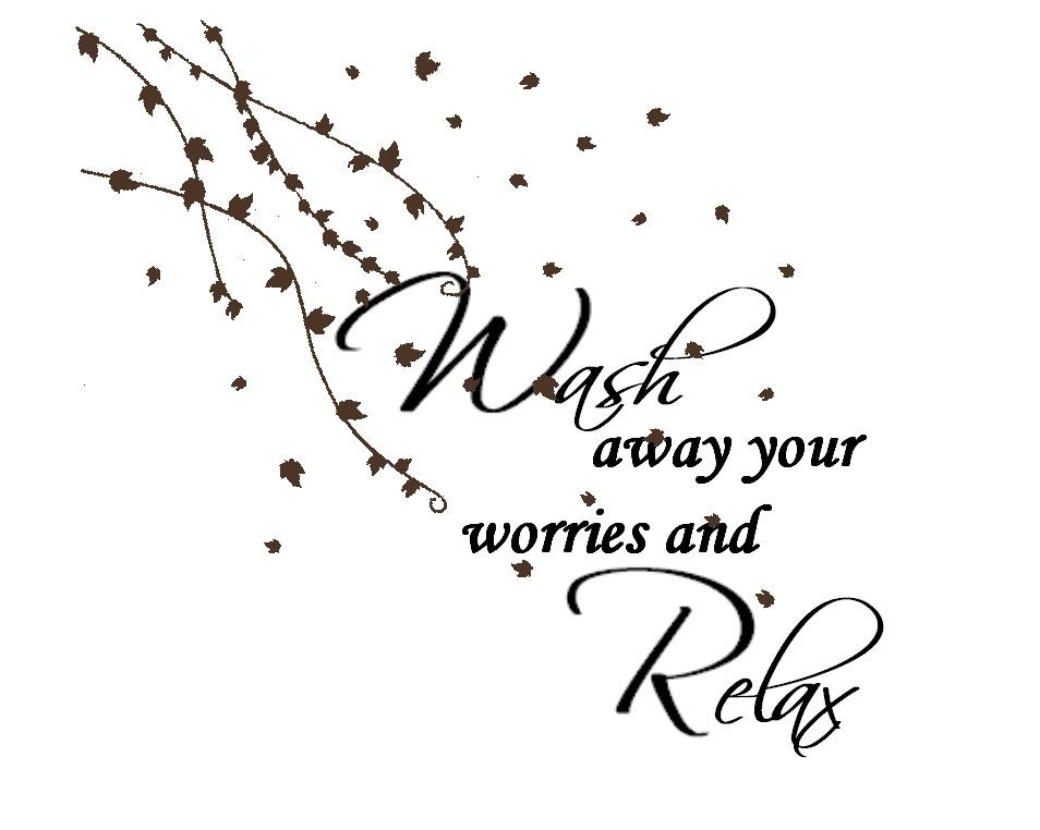 bathroom vinyl wall decal flowing vines u0026 quote wash away your worries and relax