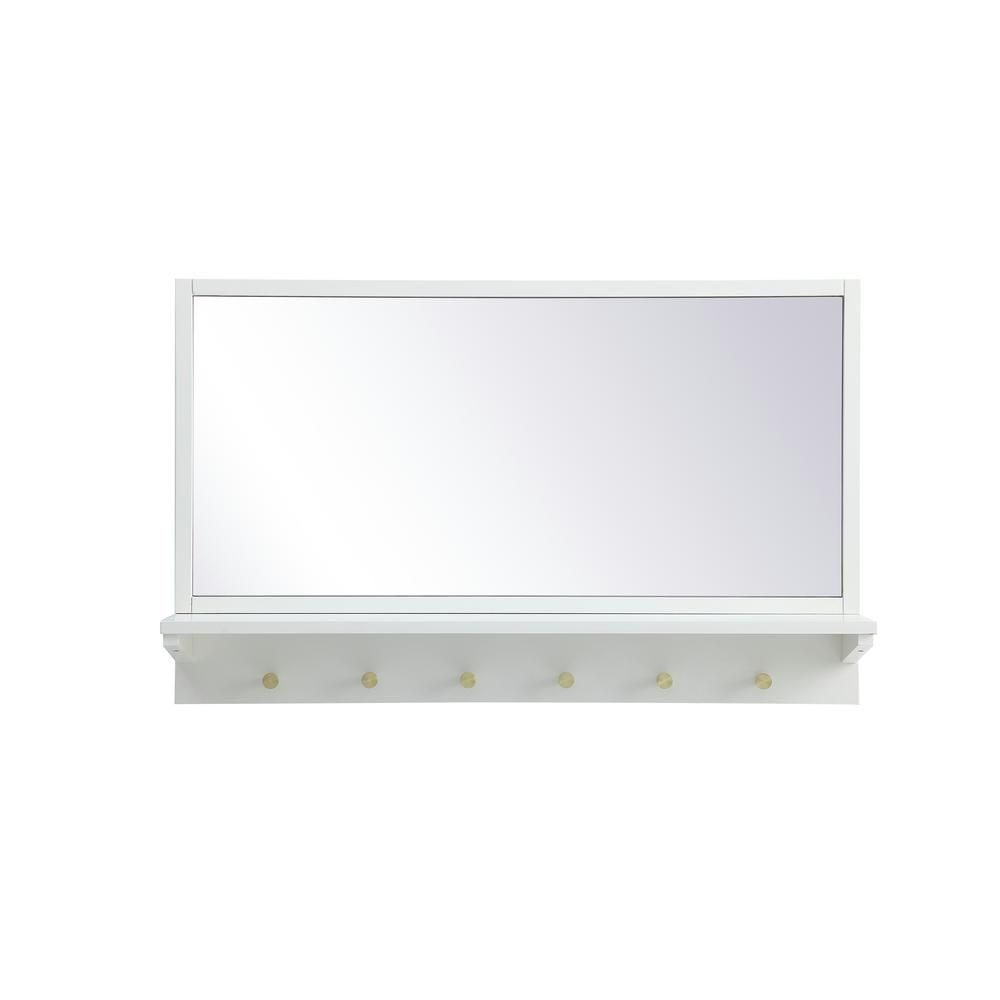 Elegant Furniture Timeless Home 21 in. H x 34 in. W White Farmhouse Entryway Rectangular Wall Mirror