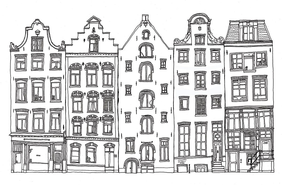 2014 08 07 Onno Blase Grachtenpanden Amsterdam Stad Tekening Tekening Architectuur Stad Illustratie