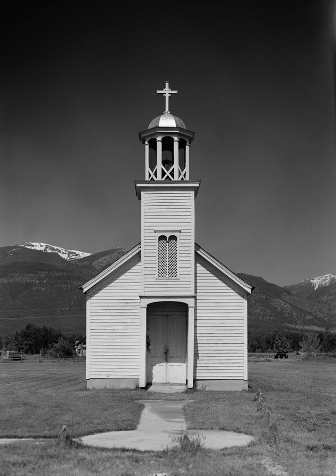 "Saint Mary's ""Roman Catholic Mission"", built in 1866 in Stevensville, Montana."