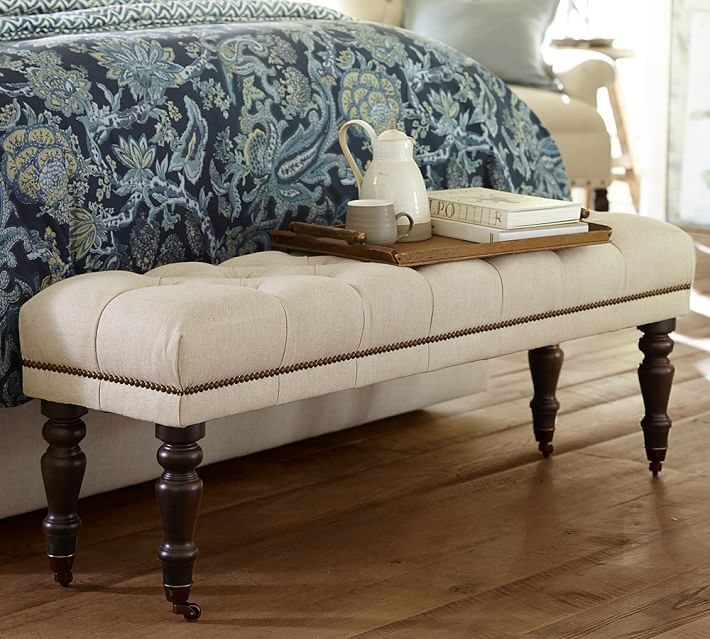raleigh queen bench tufted with turned black leg with pewter rh pinterest com