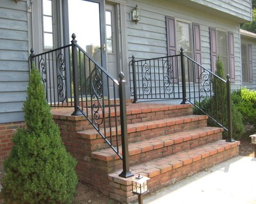 Custom Iron Railings - Porch Handrails with large scroll baluster ...