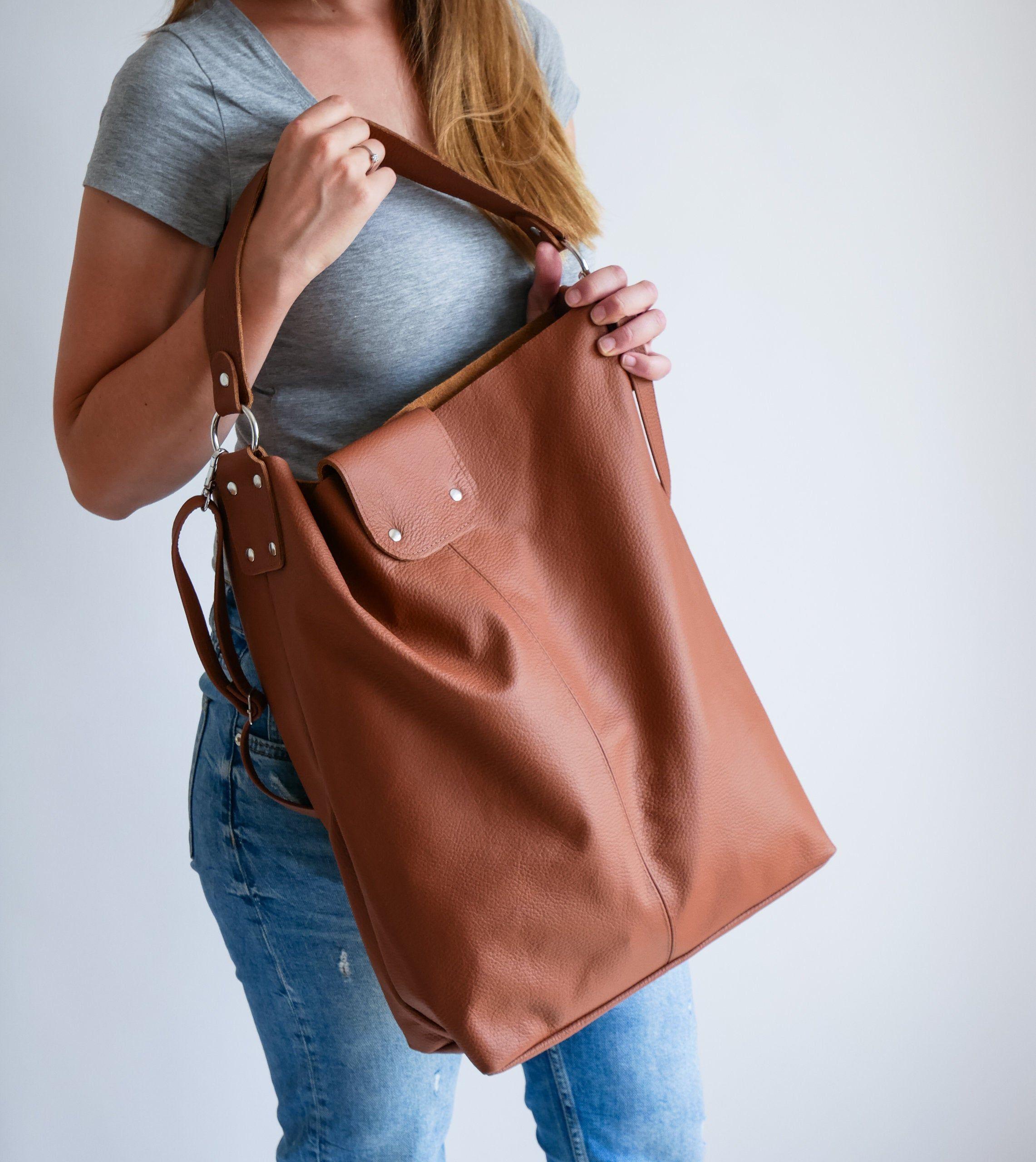 Oversize Brown Shopper Bag Large Leather Shopper Light Etsy Bolso Mochila De Cuero Mochilas De Cuero Bolso Mochila