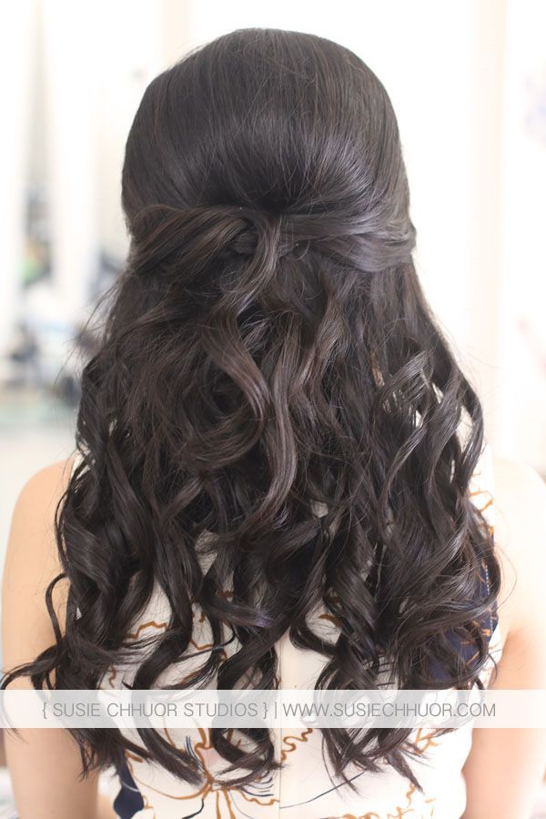 Susie Chhuor Asian Hair Half Up Half Down Wedding Hair Loose Curls Asian Wedding Hair Hair Styles Loose Curls Hairstyles