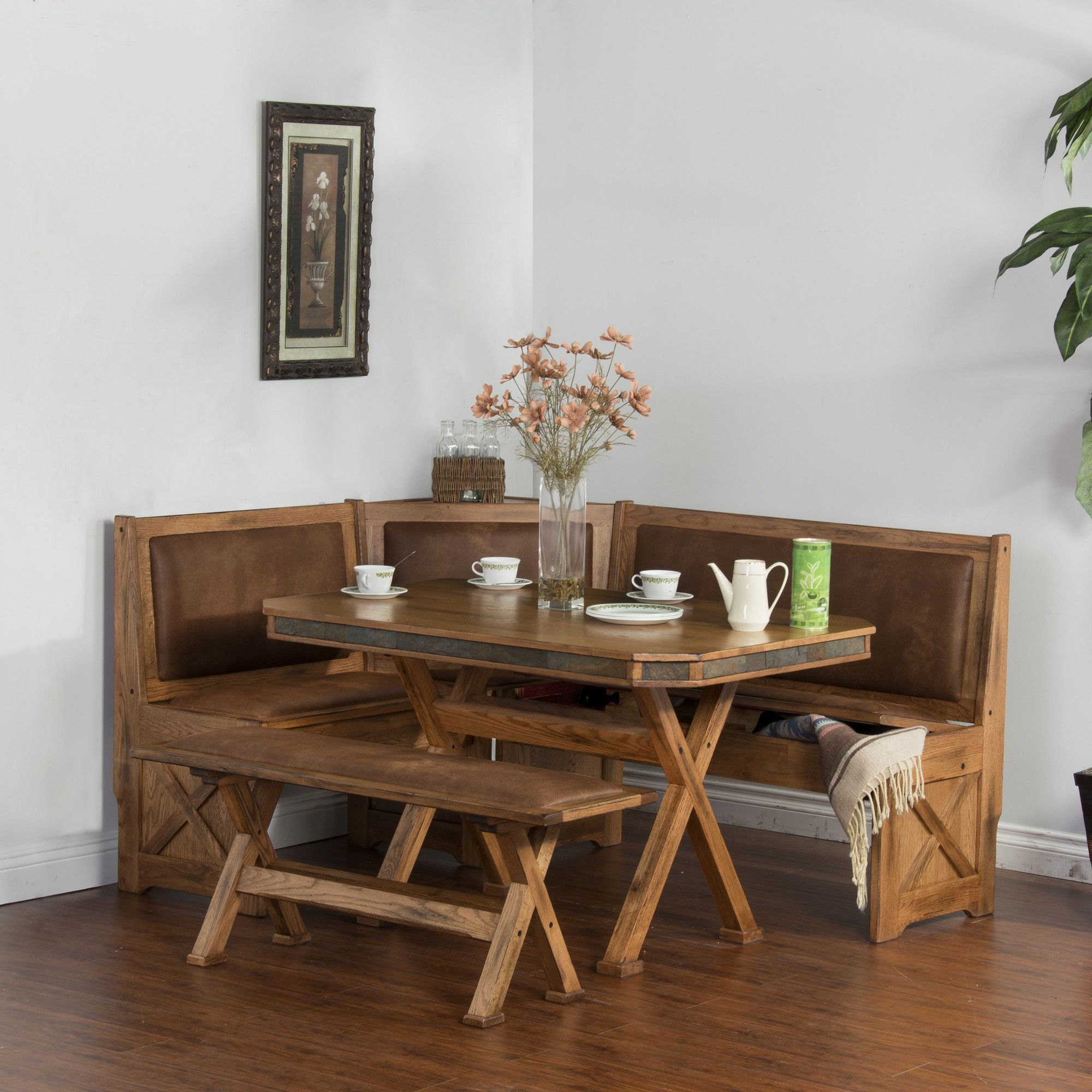 Features Framingham Collection Breakfast Nook Set With Side Bench Corner Unit Breakfast Nook Set Breakfast Nook With Storage Breakfast Nook Dining Set