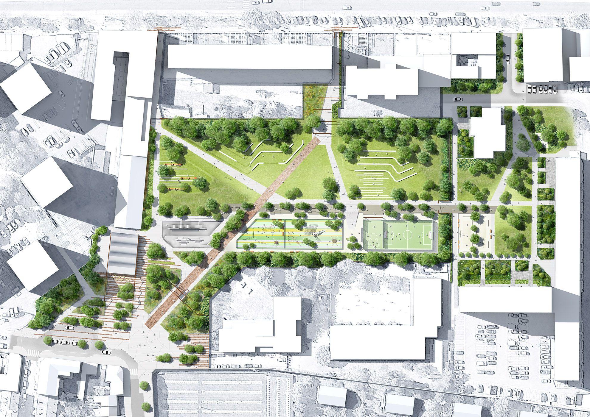 Plan masse du parc diderot graphisme pinterest plan for Plan masse architecture