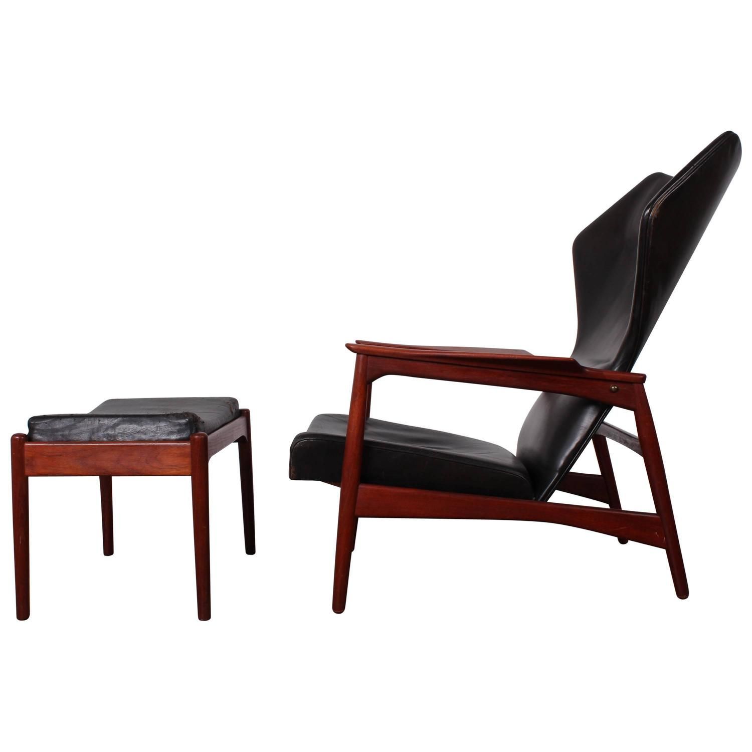 Adjustable Leather Lounge Chair And Ottoman By Ib Kofod Larsen