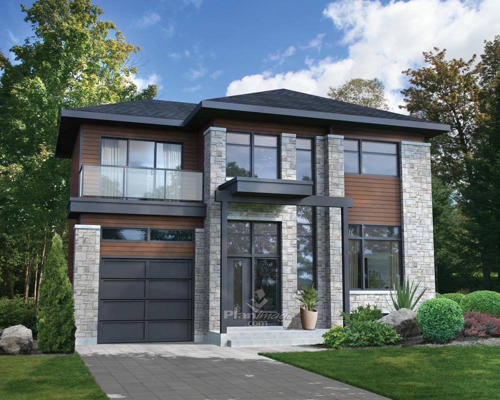plan de maison urbaine avec garage