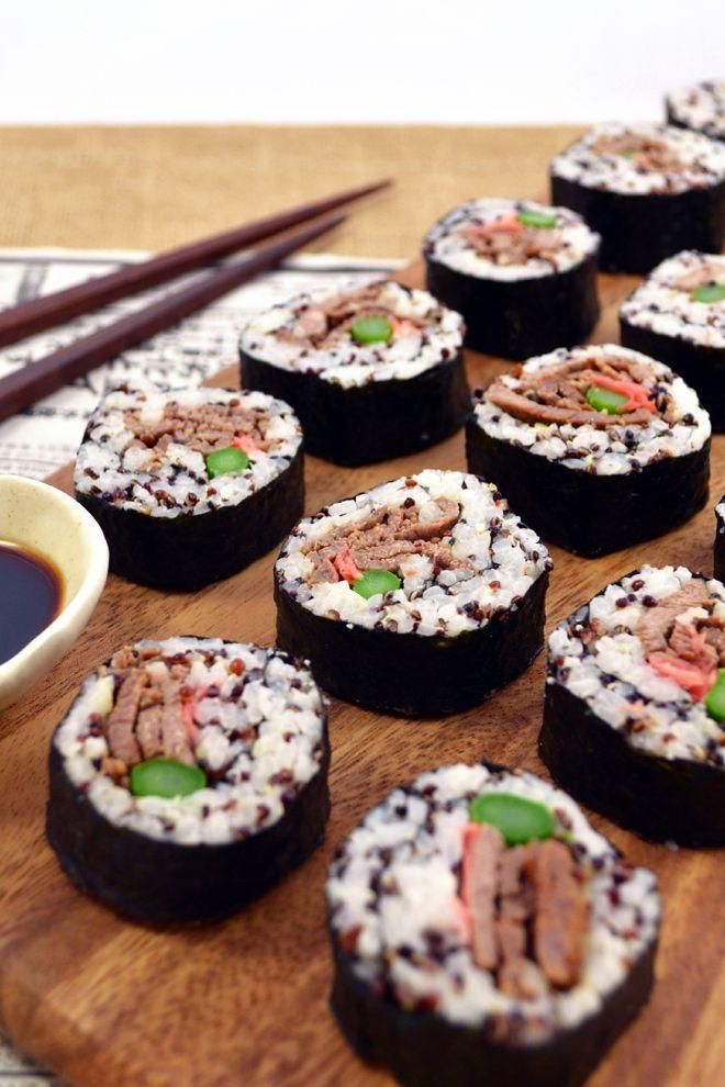 Cara Membuat Sushi Sederhana : membuat, sushi, sederhana, Teriyaki, Asparagus, Sushi, Rolls, Beef,, Lunch,
