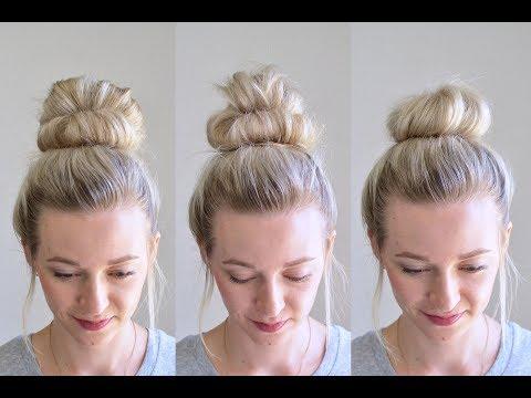 520 3 Messy Bun Top Knots Using No Bobby Pins Q S Hairdos Tessi S Hairstyle Youtube Hair Bun Tutorial Easy Hairstyles Easy Bun Hairstyles