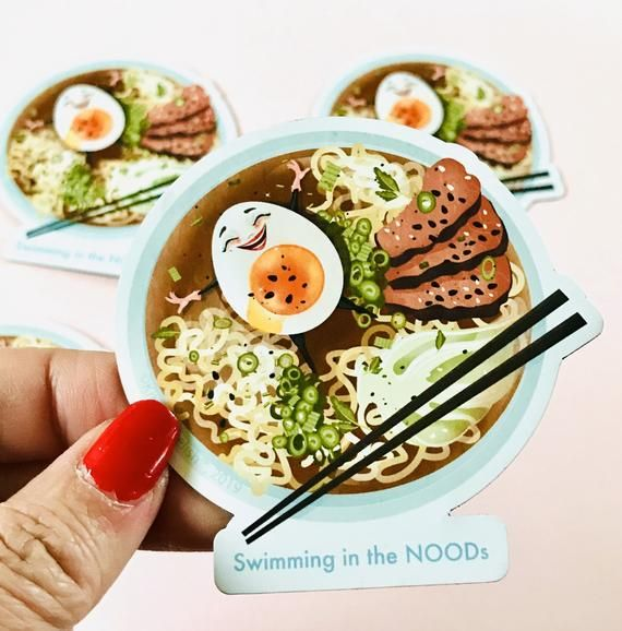 """Brought to you by popular demand, this  Swimming in the NOODs magnet is diecut and printed on flexible magnetic paper. It measures 3""""x 3"""""""