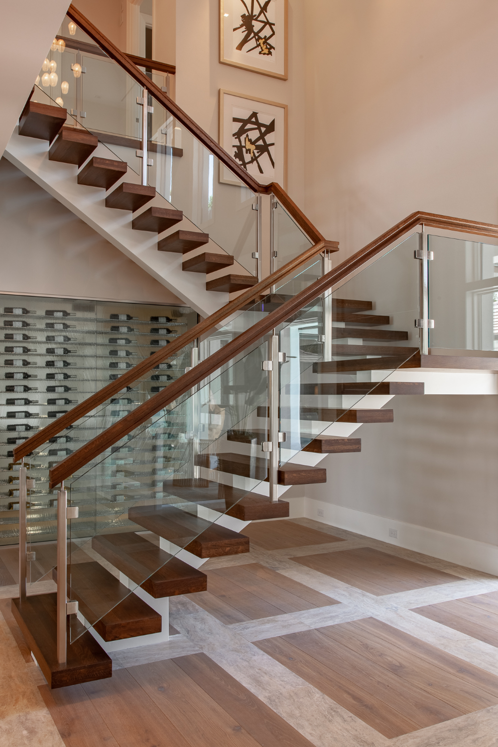 Rising Achievement Glass Railing Stairs Kitchen Color
