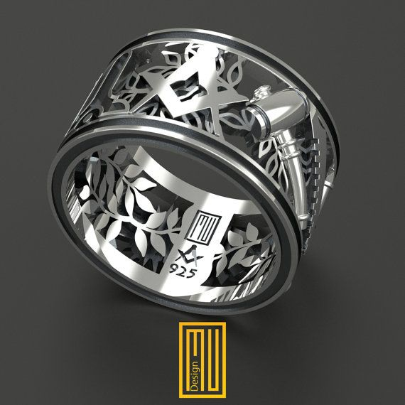 Masonic Wedding Band Style Ring 925k Sterling Silver Or Bronze