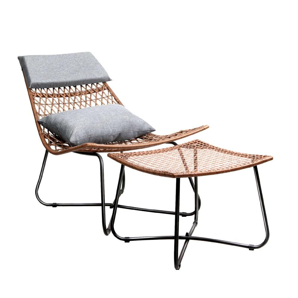 Mika rattan lounge chair ottoman indoor outdoor with