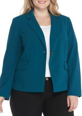 fc01b83e2af Calvin Klein Women s Plus Size One Button Scuba Crepe Jacket - Cypress - 14W