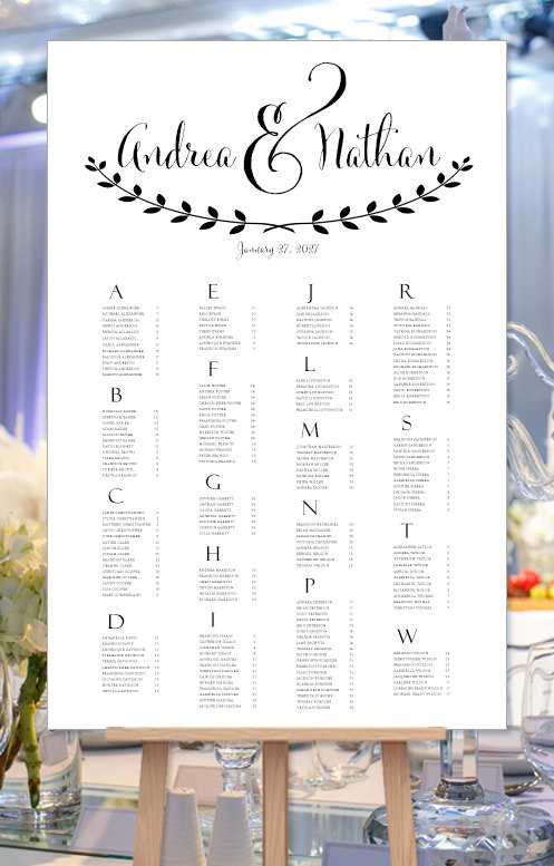 wedding seating chart poster andrea black white seating chart rh pinterest com