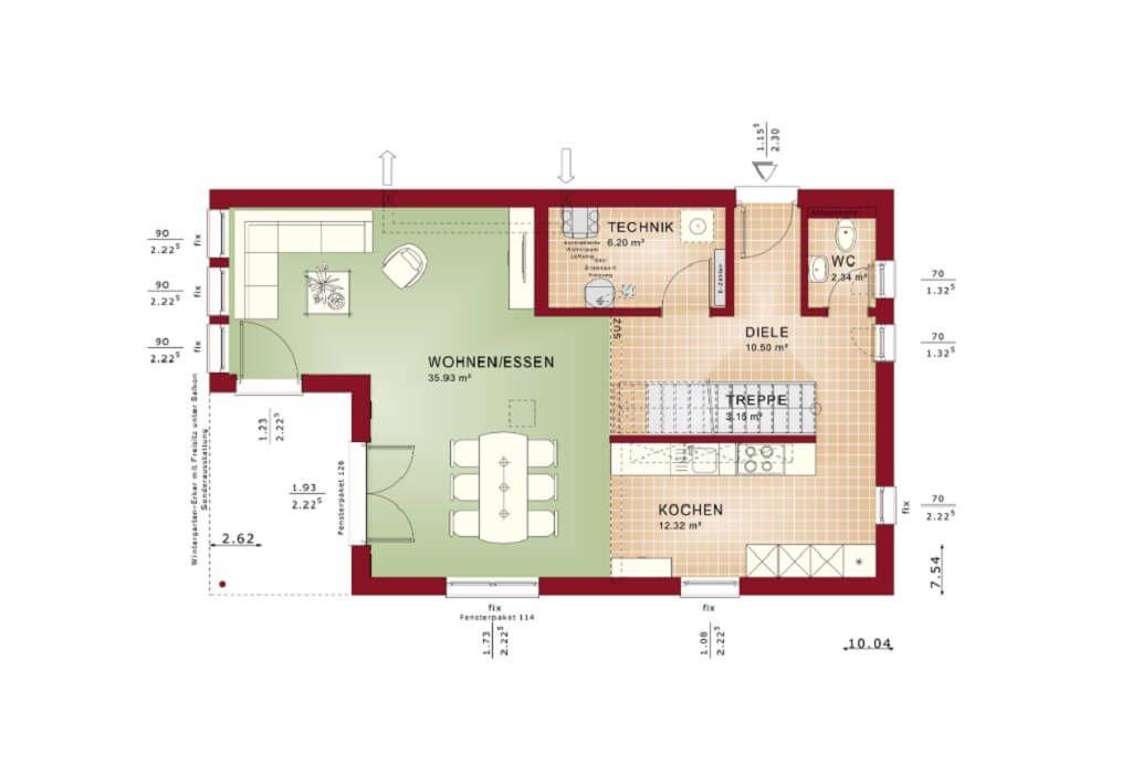 haus grundriss eg mit offener k che fertighaus edition 4 v3 bien zenker. Black Bedroom Furniture Sets. Home Design Ideas