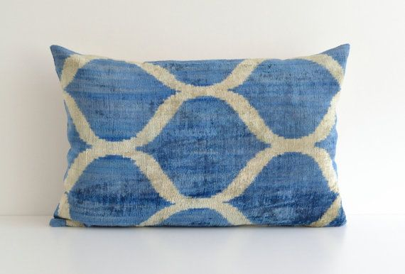 Ikat Lumbar Pillow Blue Ikat Pillow Velvet Cushion Cover Blue
