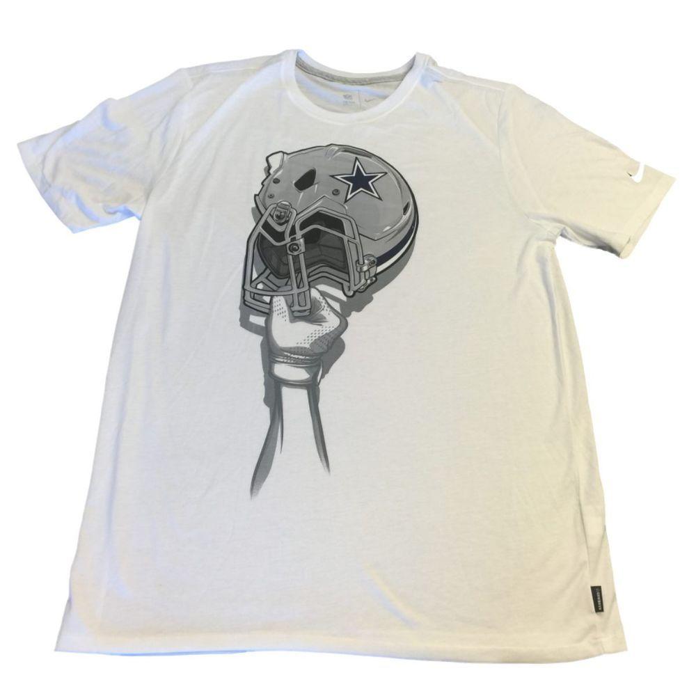 Dallas Cowboys Nfl Nike White Football Helmet Hand Ss