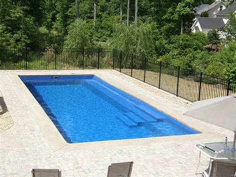 Floor Black Fence Square Shape Pool Modern Inground Swimming ...