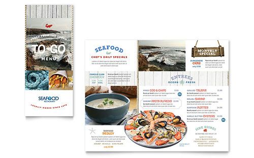 Seafood Restaurant - Take-out Brochure Template WOK Enrikito