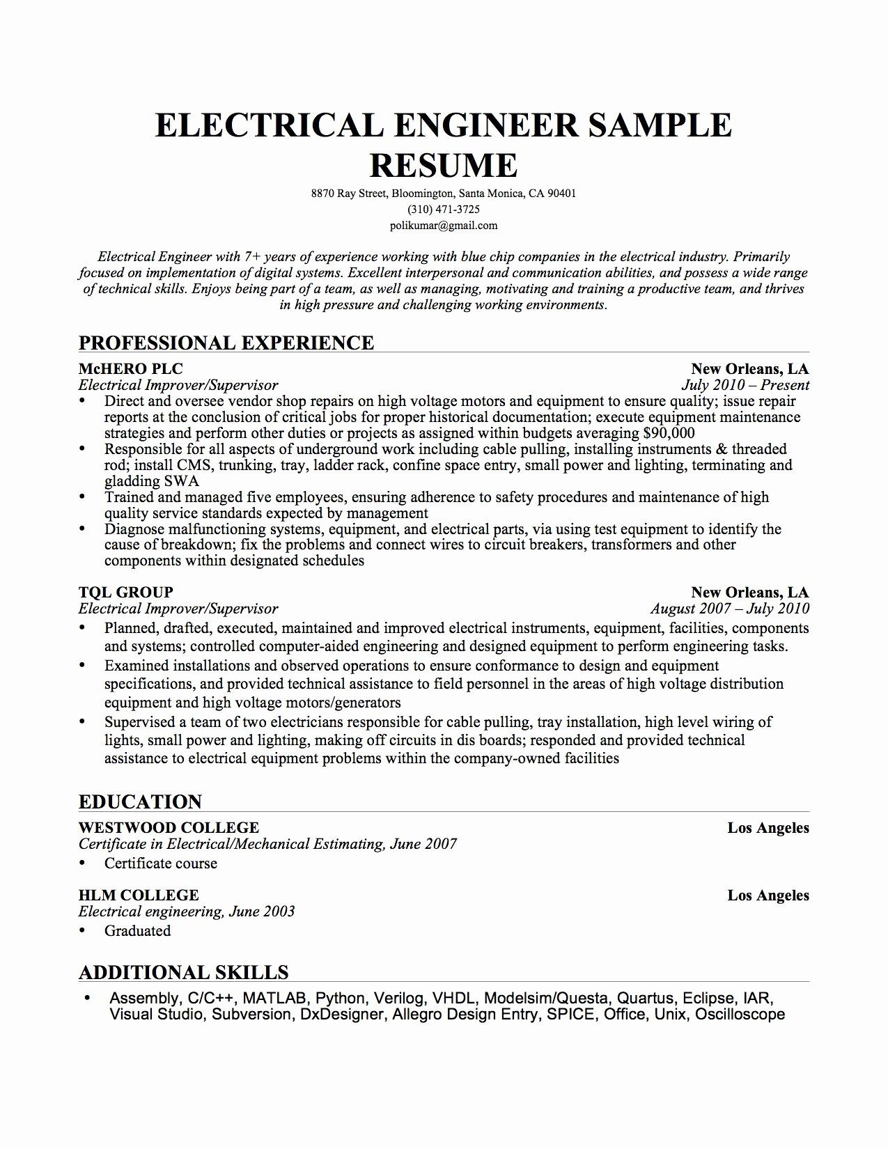 25 electrical engineer resume sample in 2020 engineering cv format for fresher bsc textile ceo career objective