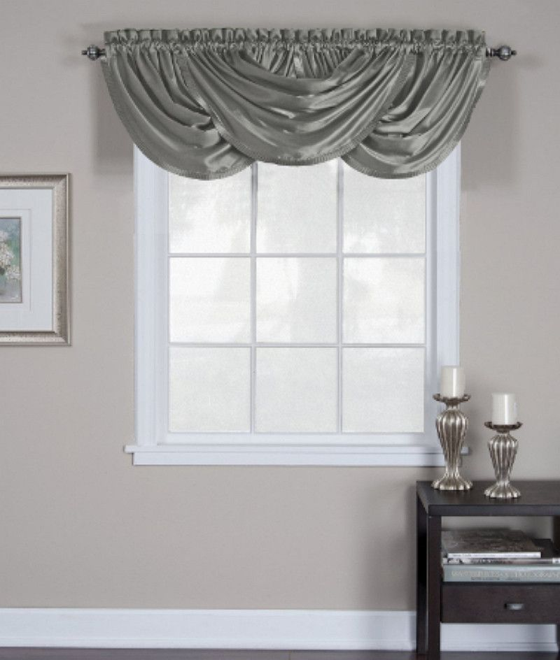 living room window valance ideas%0A Elrene Home Versailles      x      Back Tab Waterfall Window Valance Gray