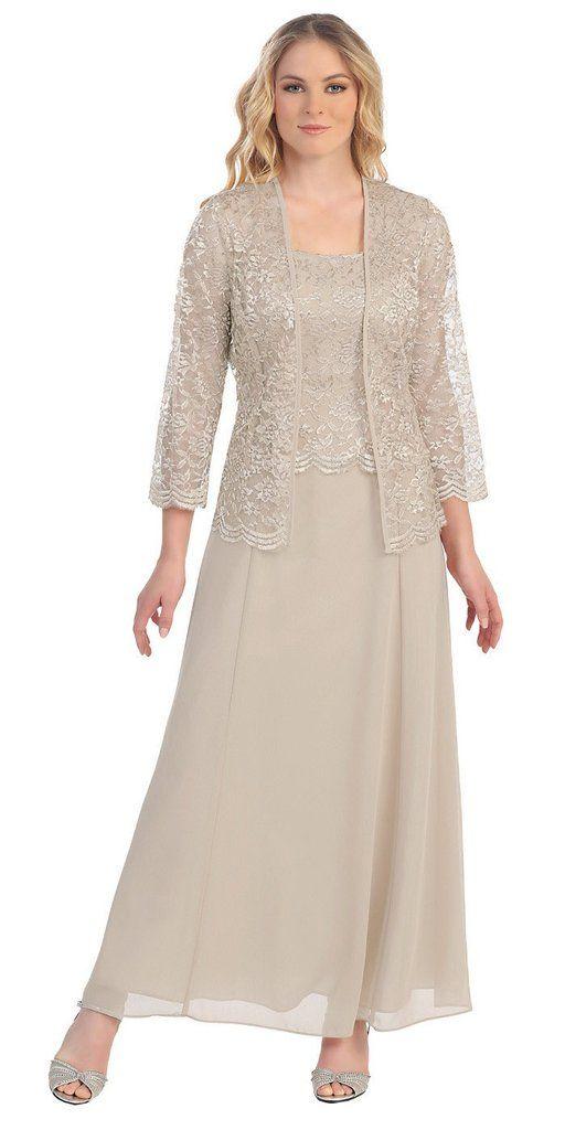 Long Chiffon Khaki Mother of Groom Dress Lace 3/4 length Sleeve Jacket